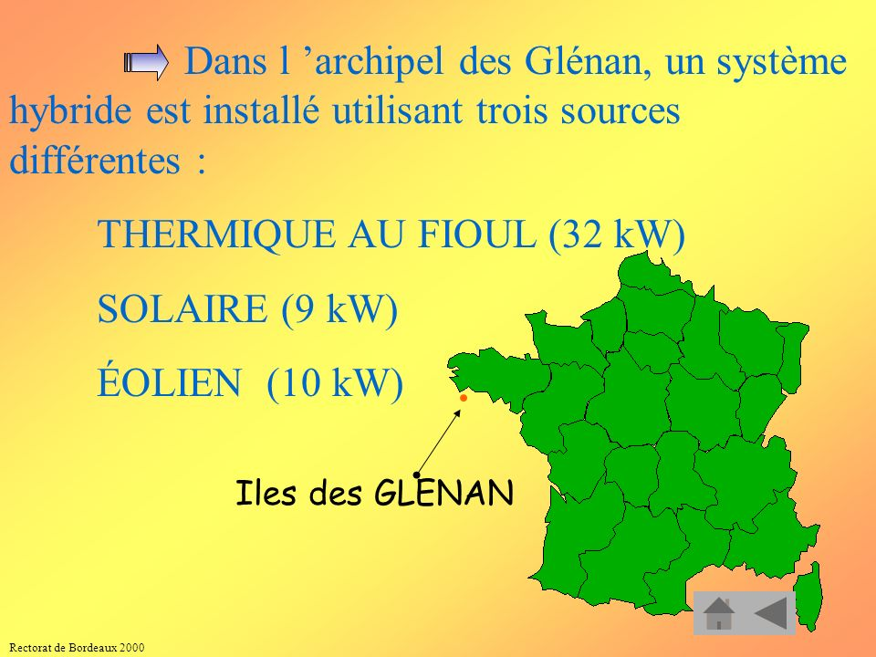 SOLAIRE (9 kW) ÉOLIEN (10 kW) THERMIQUE AU FIOUL (32 kW)