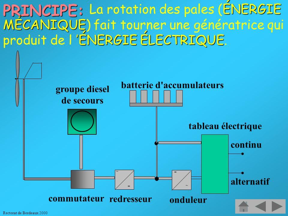 PRINCIPE: La rotation des pales (ÉNERGIE MÉCANIQUE) fait tourner une génératrice qui produit de l 'ÉNERGIE ÉLECTRIQUE.
