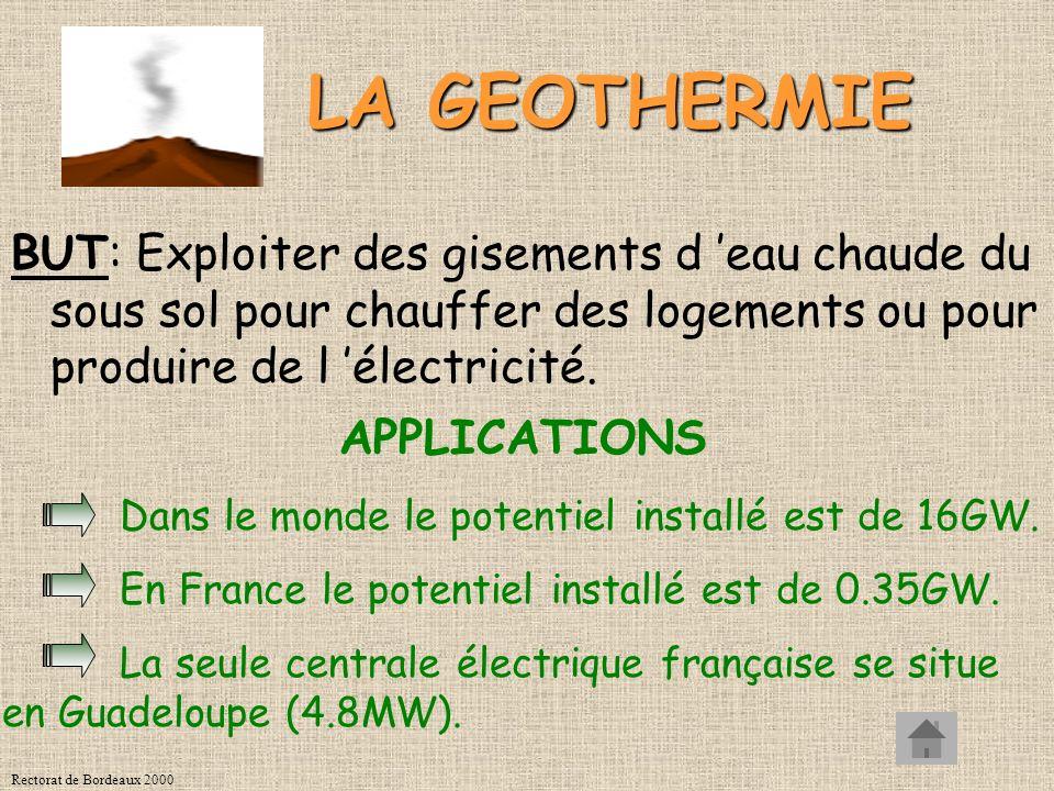 LA GEOTHERMIE BUT: Exploiter des gisements d 'eau chaude du sous sol pour chauffer des logements ou pour produire de l 'électricité.