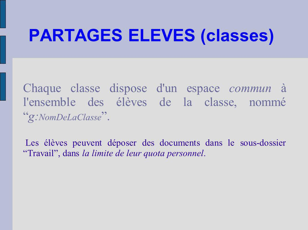PARTAGES ELEVES (classes)