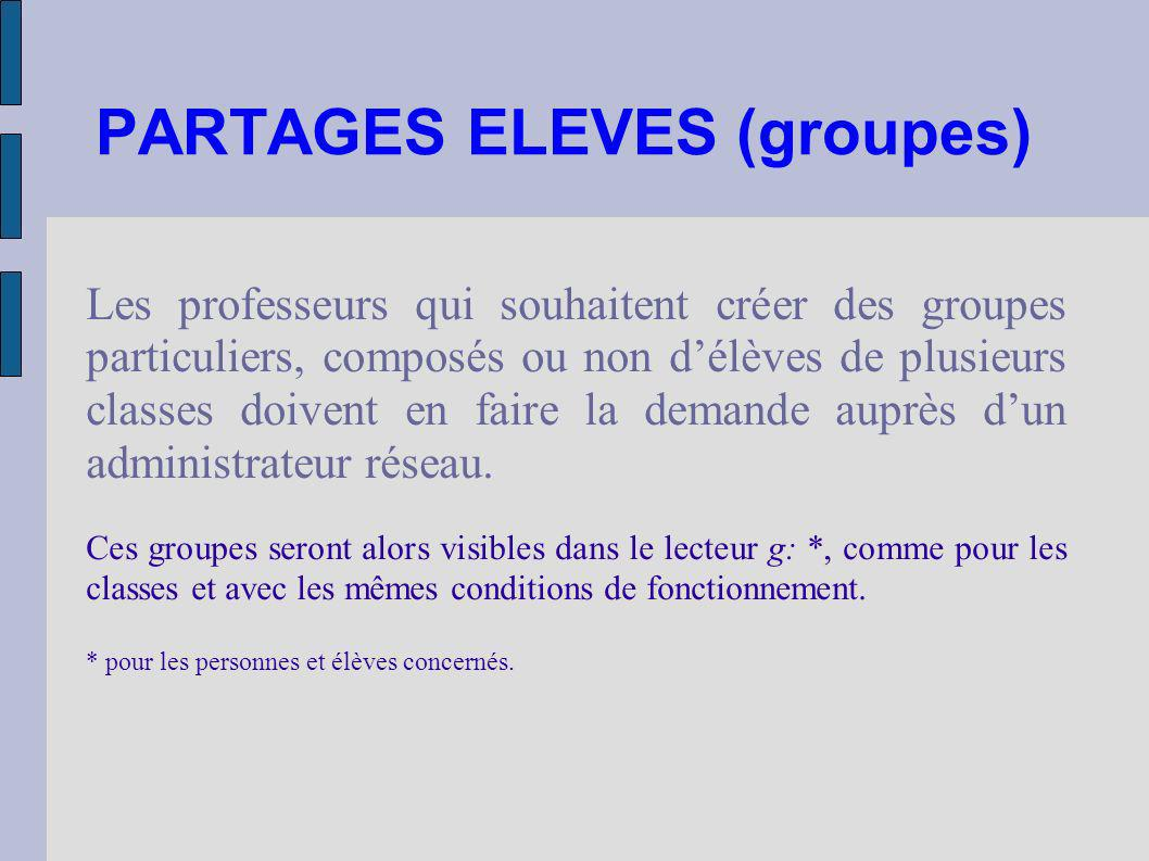 PARTAGES ELEVES (groupes)‏