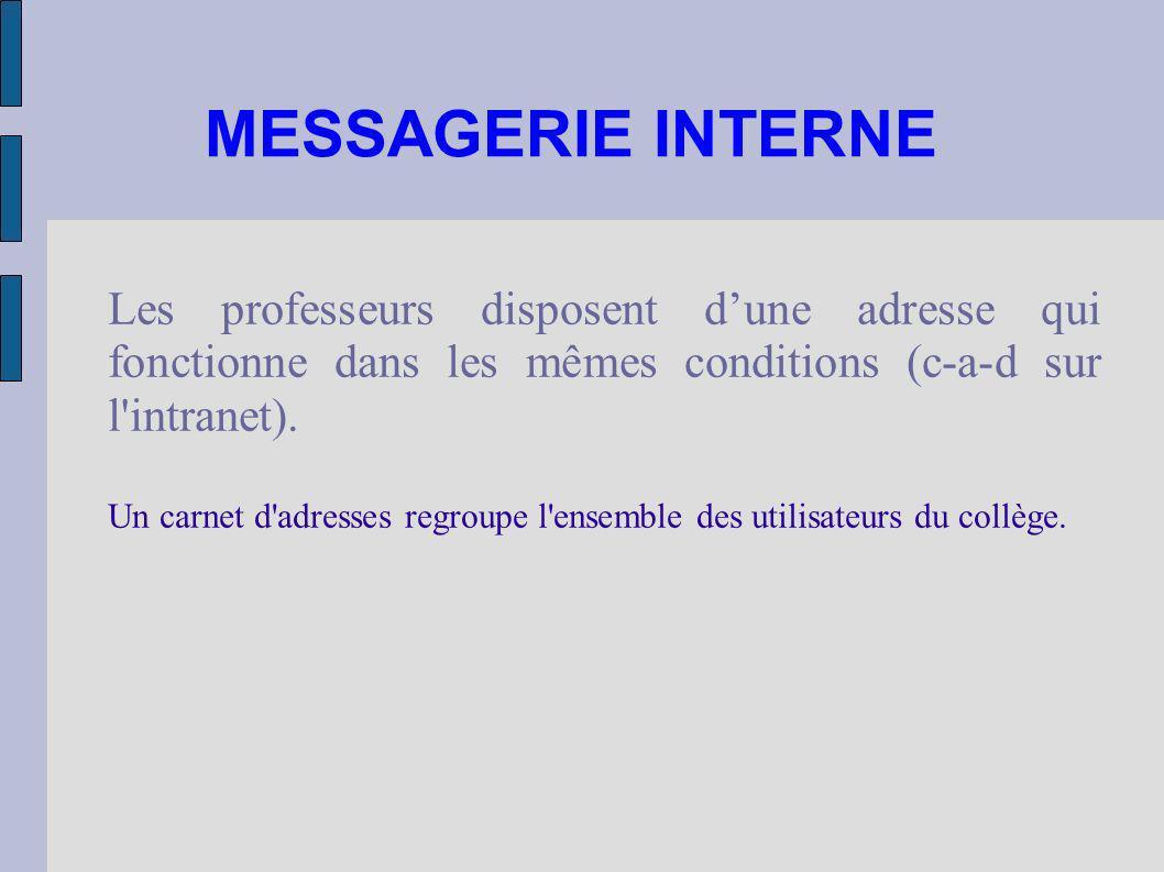 MESSAGERIE INTERNE Les professeurs disposent d'une adresse qui fonctionne dans les mêmes conditions (c-a-d sur l intranet).