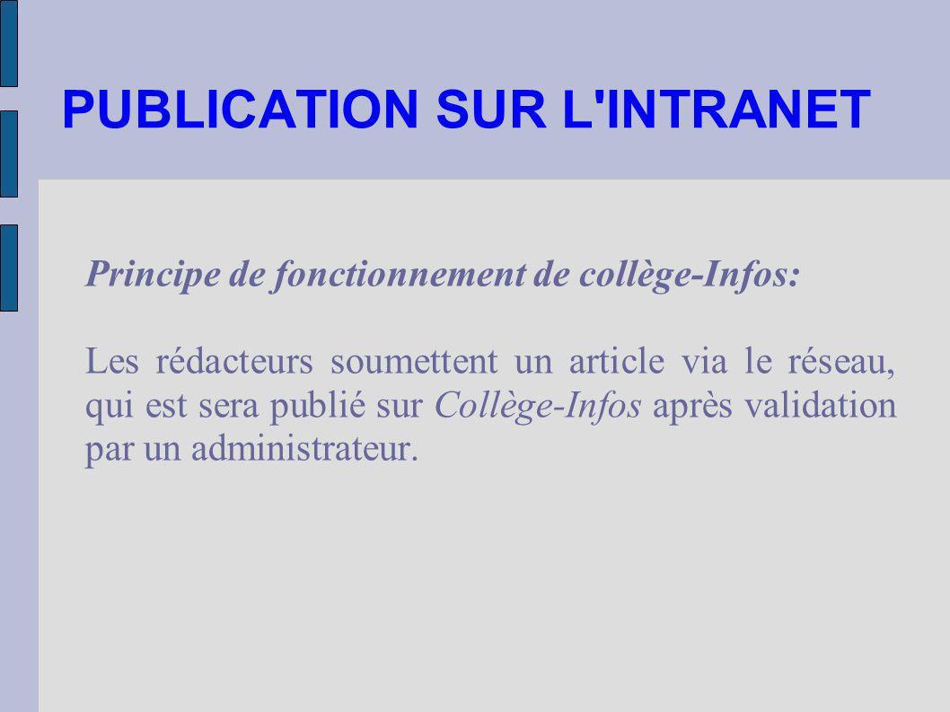 PUBLICATION SUR L INTRANET