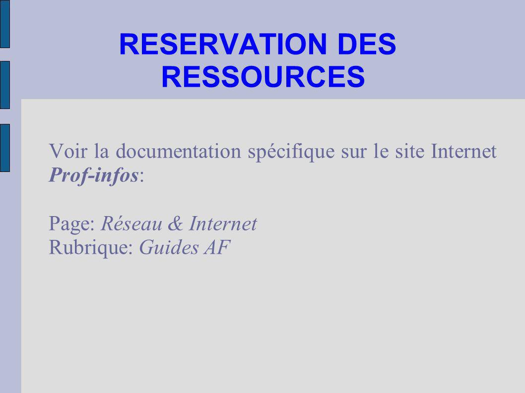 RESERVATION DES RESSOURCES