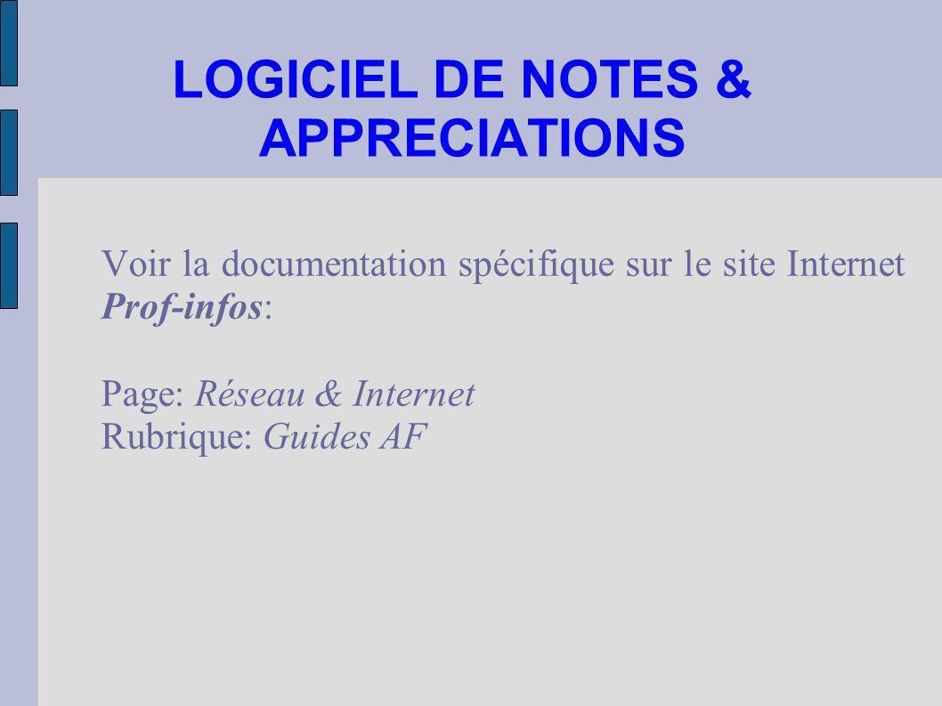 LOGICIEL DE NOTES & APPRECIATIONS