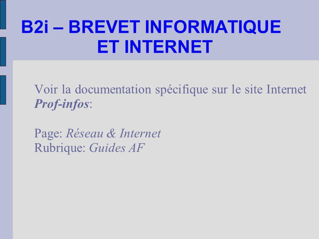 B2i – BREVET INFORMATIQUE ET INTERNET