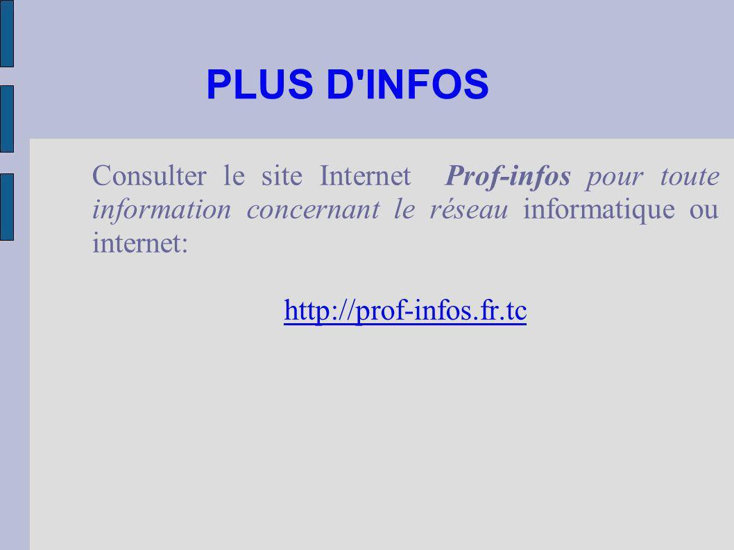 PLUS D INFOS Consulter le site Internet Prof-infos pour toute information concernant le réseau informatique ou internet: