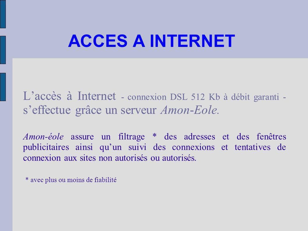 ACCES A INTERNET L'accès à Internet - connexion DSL 512 Kb à débit garanti - s'effectue grâce un serveur Amon-Eole.