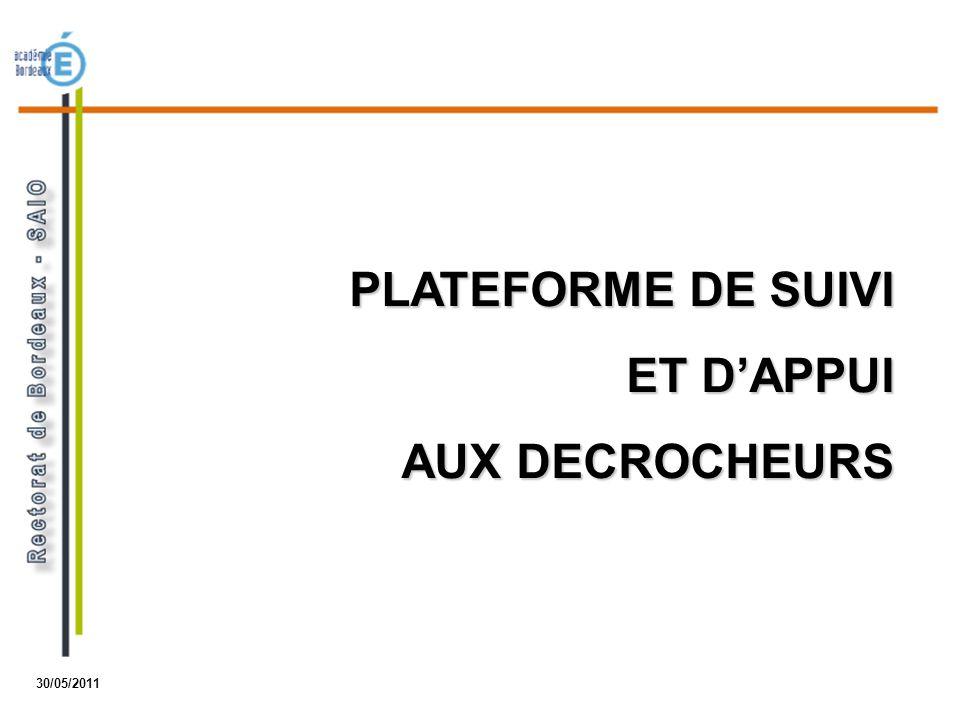PLATEFORME DE SUIVI ET D'APPUI AUX DECROCHEURS 30/05/2011