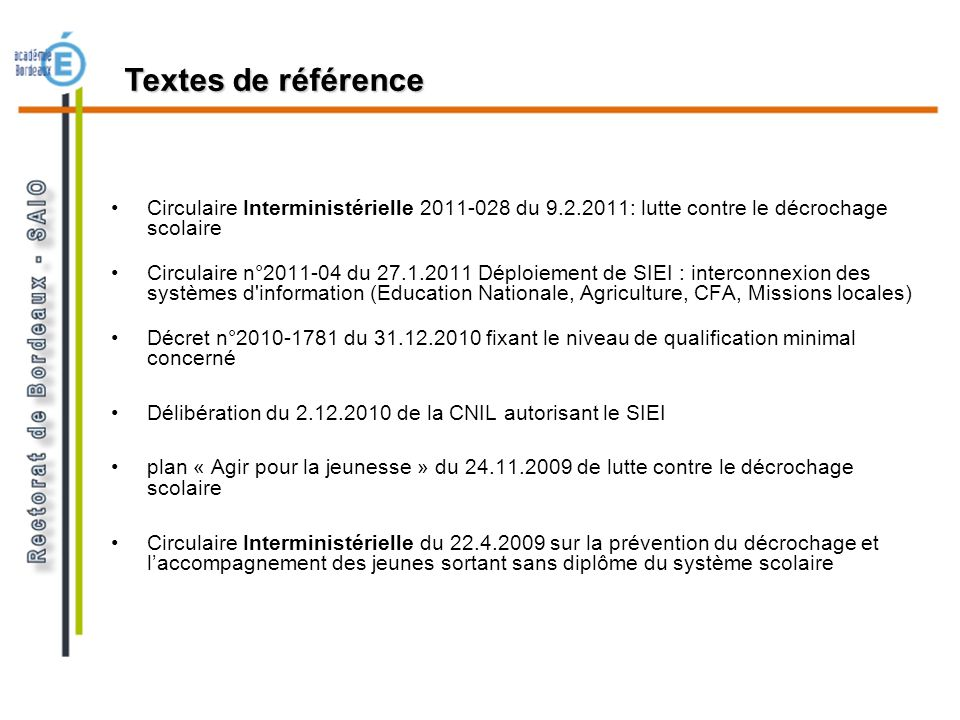 Textes de référence Circulaire Interministérielle 2011-028 du 9.2.2011: lutte contre le décrochage scolaire.
