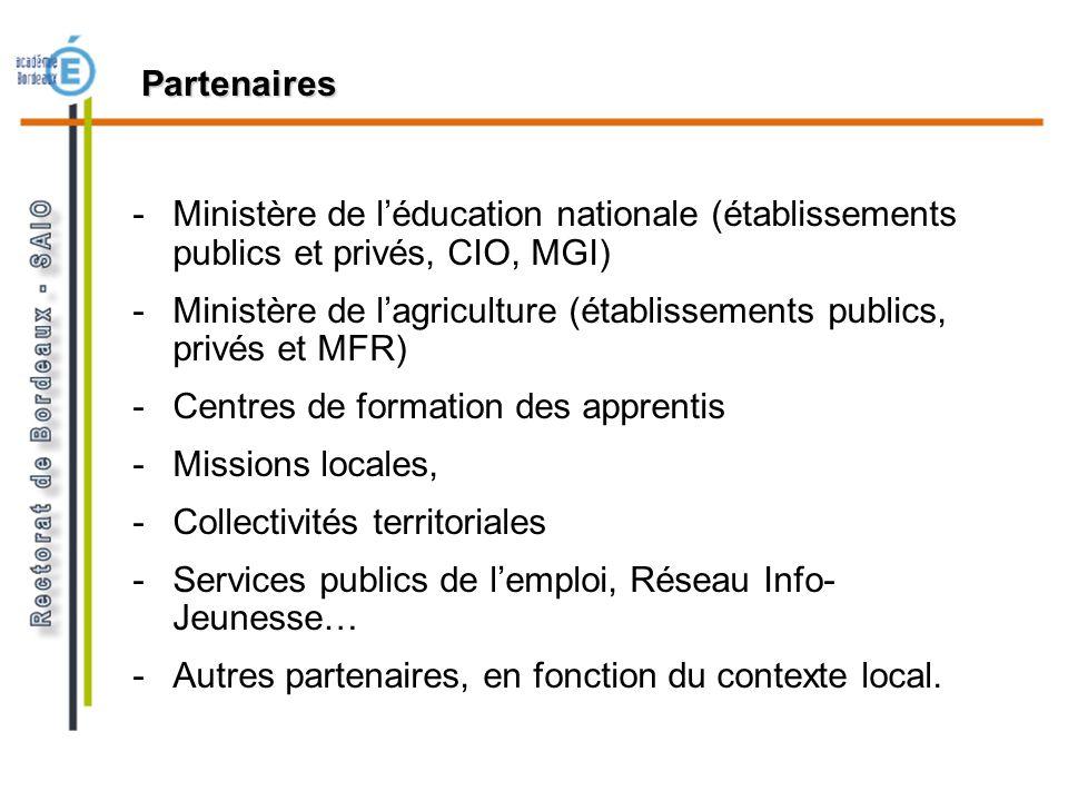 Partenaires Ministère de l'éducation nationale (établissements publics et privés, CIO, MGI)