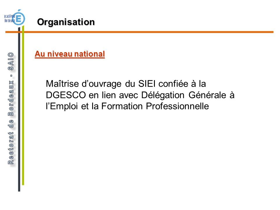 Organisation Au niveau national.
