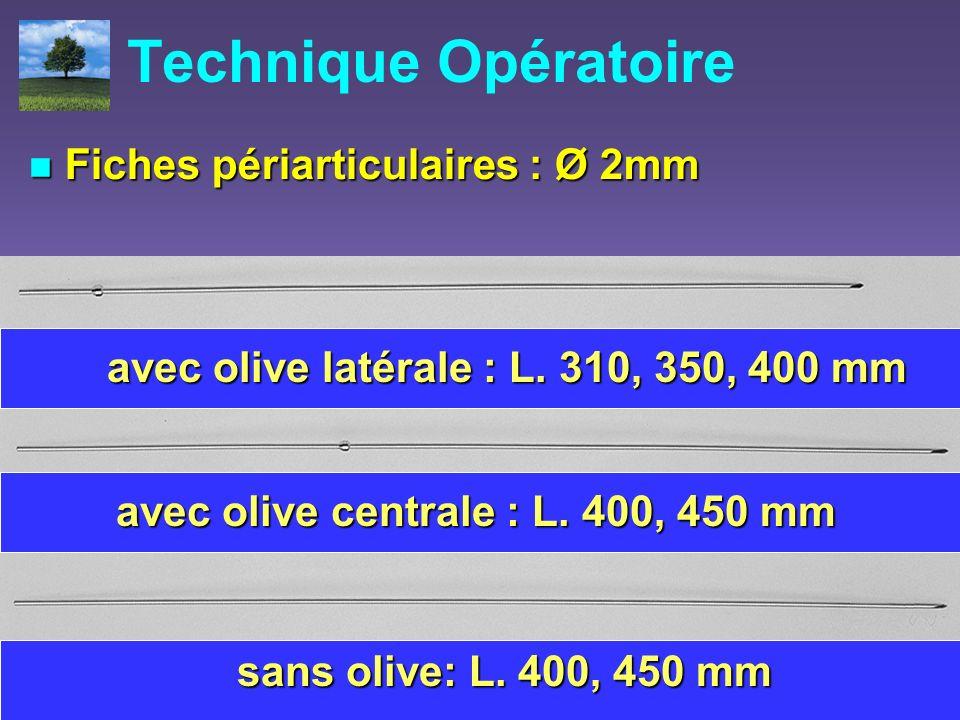 Technique Opératoire Fiches périarticulaires : Ø 2mm