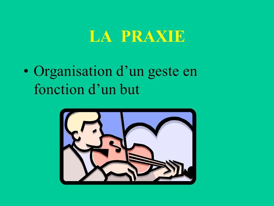 LA PRAXIE Organisation d'un geste en fonction d'un but