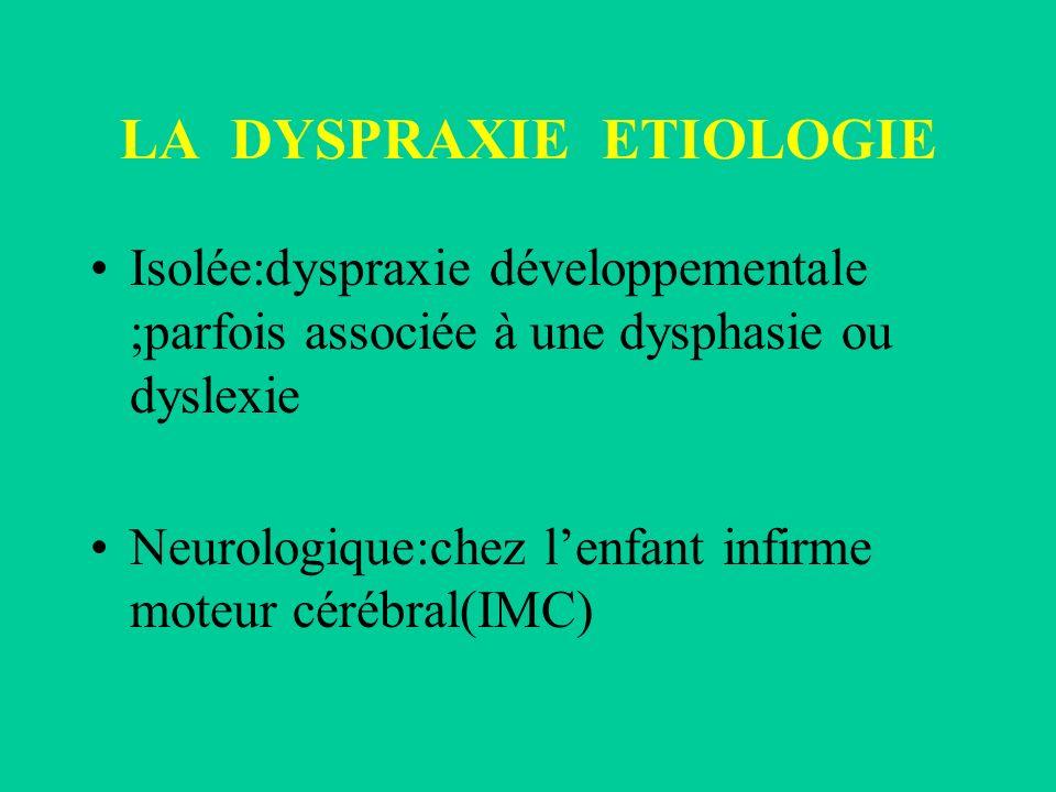 LA DYSPRAXIE ETIOLOGIE