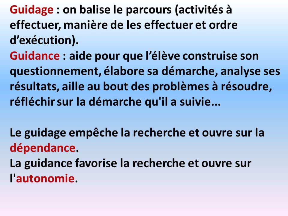 Guidage : on balise le parcours (activités à effectuer, manière de les effectuer et ordre d'exécution).