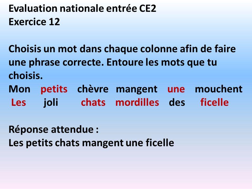 Evaluation nationale entrée CE2