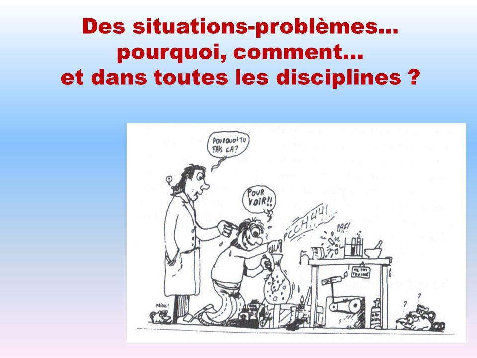 Des situations-problèmes… pourquoi, comment…
