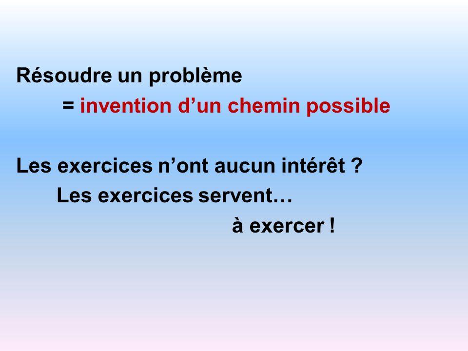 Résoudre un problème = invention d'un chemin possible. Les exercices n'ont aucun intérêt Les exercices servent…