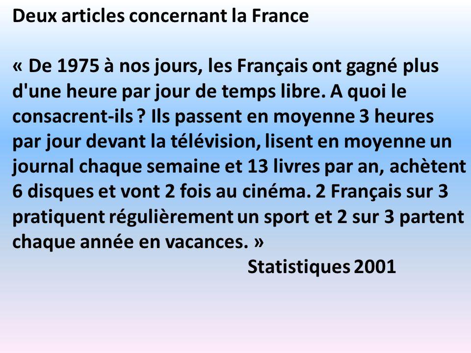 Deux articles concernant la France