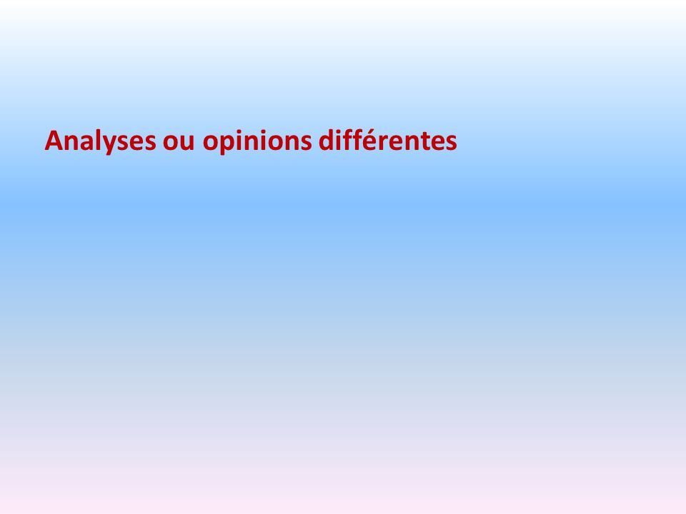 Analyses ou opinions différentes