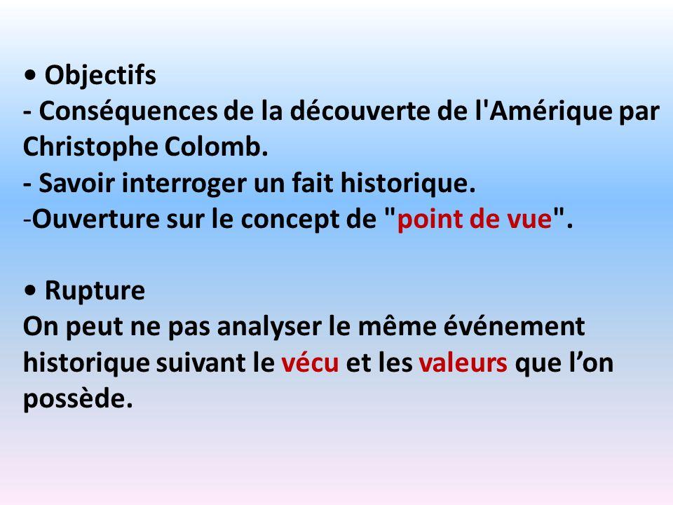 • Objectifs - Conséquences de la découverte de l Amérique par Christophe Colomb. - Savoir interroger un fait historique.
