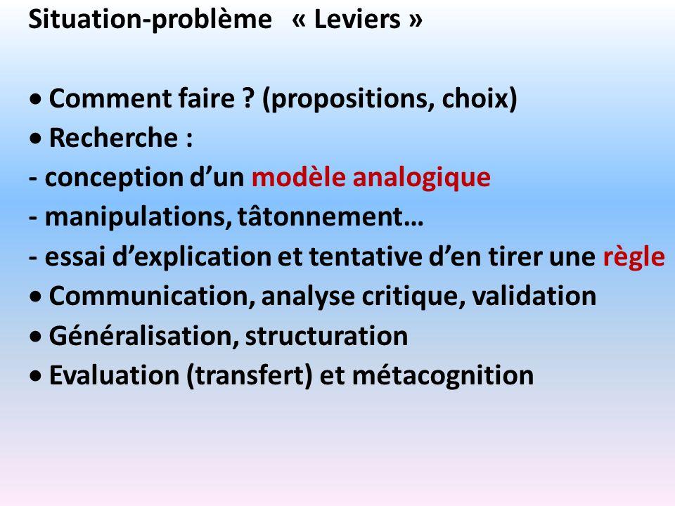 Situation-problème « Leviers »