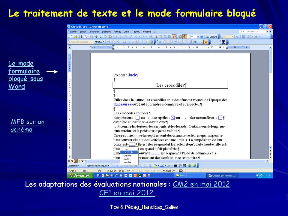 Le traitement de texte et le mode formulaire bloqué