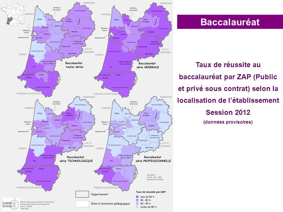 localisation de l'établissement (données provisoires)