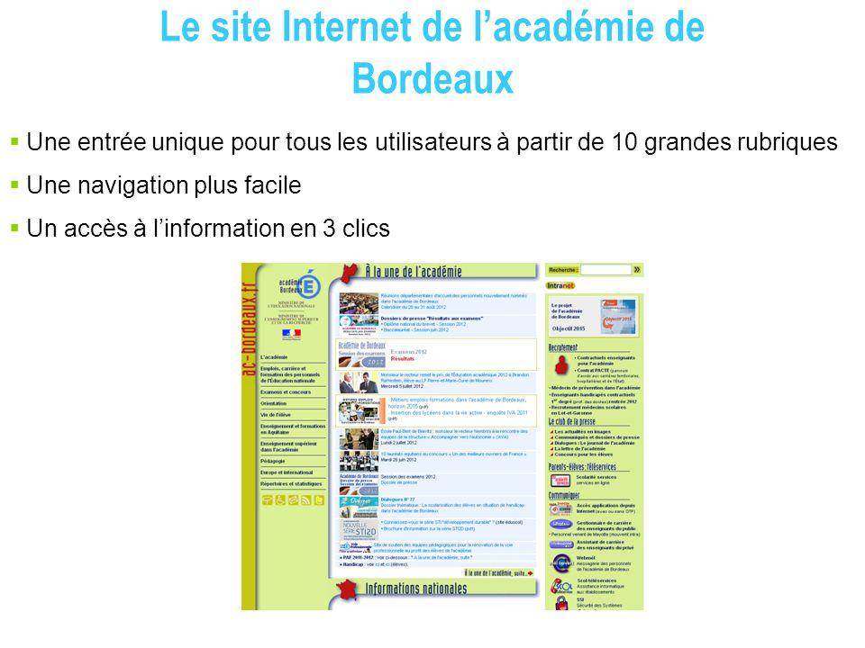 Le site Internet de l'académie de Bordeaux