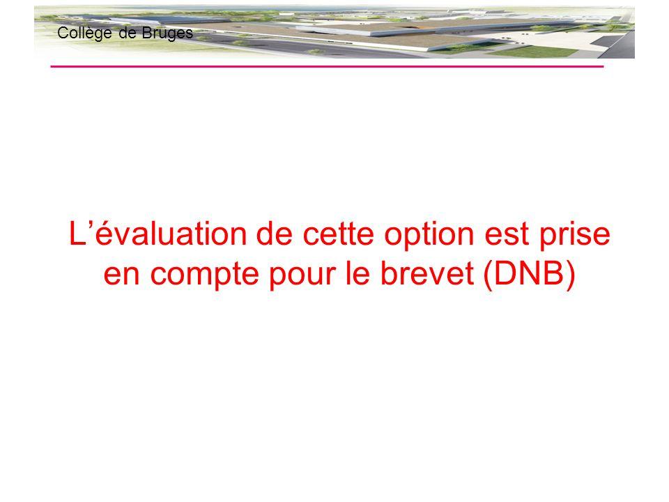 L'évaluation de cette option est prise en compte pour le brevet (DNB)