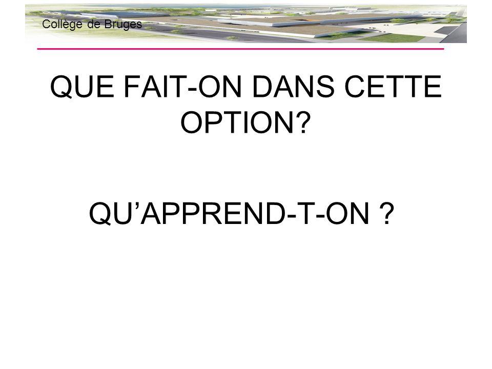 QUE FAIT-ON DANS CETTE OPTION