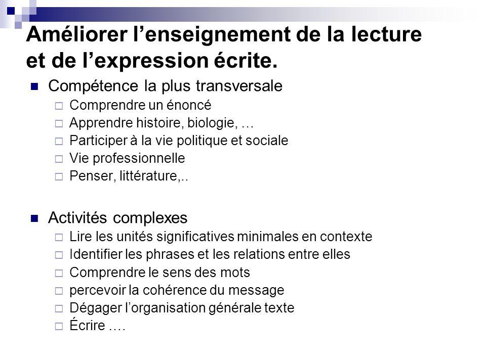 Améliorer l'enseignement de la lecture et de l'expression écrite.