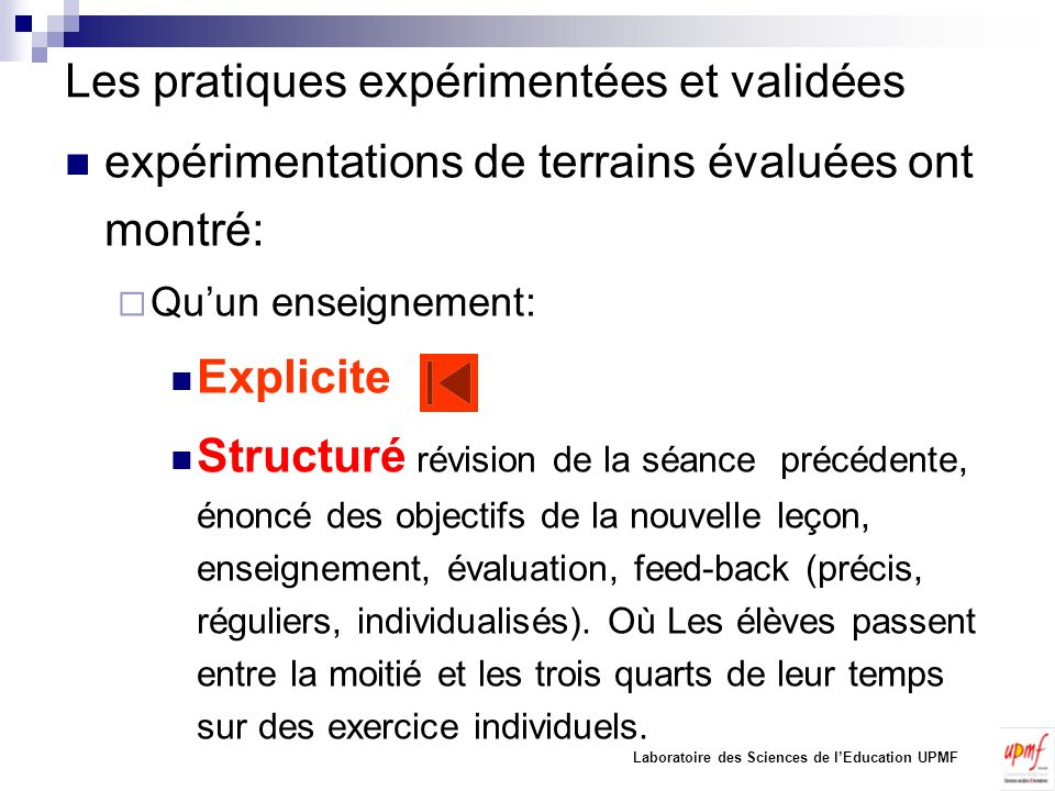Les pratiques expérimentées et validées