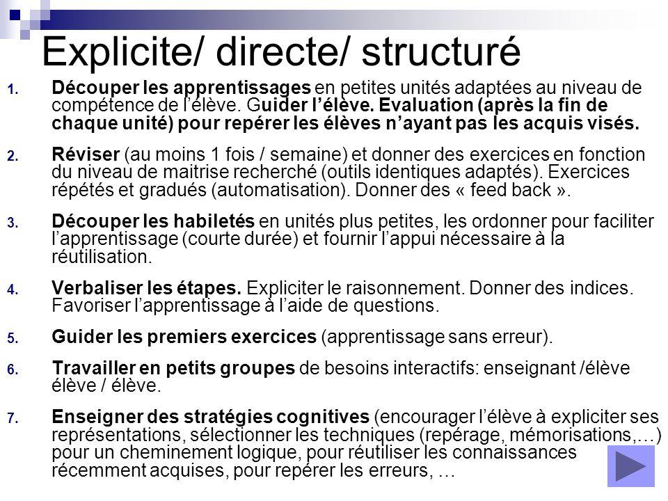 Explicite/ directe/ structuré