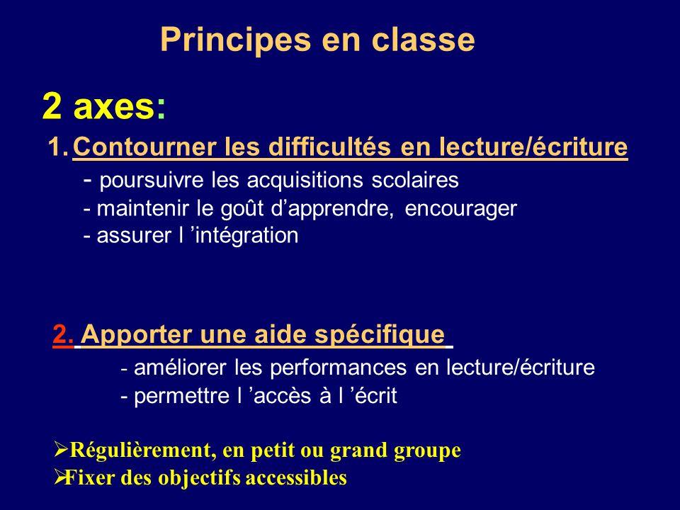 2 axes: Principes en classe