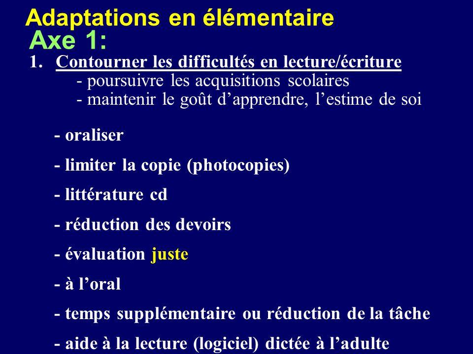 Axe 1: Adaptations en élémentaire