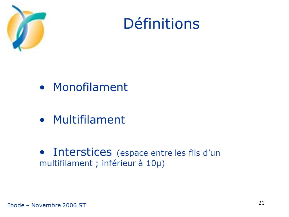 Définitions Monofilament Multifilament
