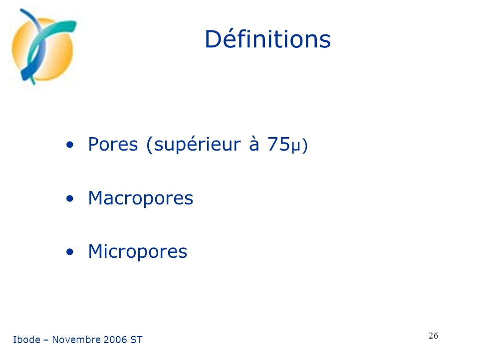 Pores (supérieur à 75µ) Macropores Micropores