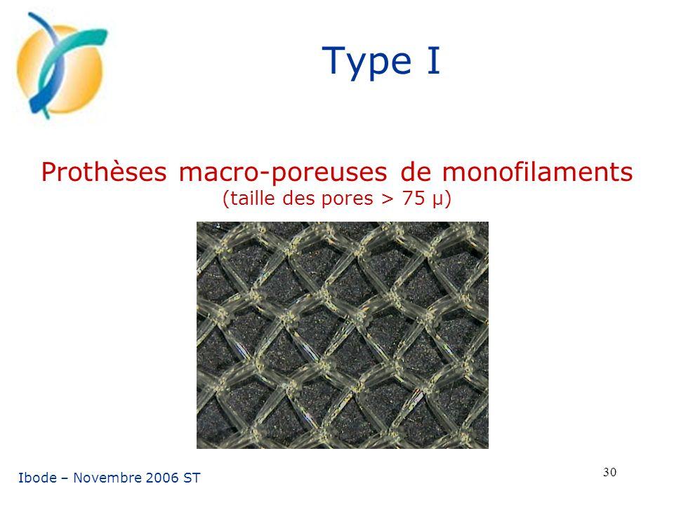 Prothèses macro-poreuses de monofilaments (taille des pores > 75 µ)