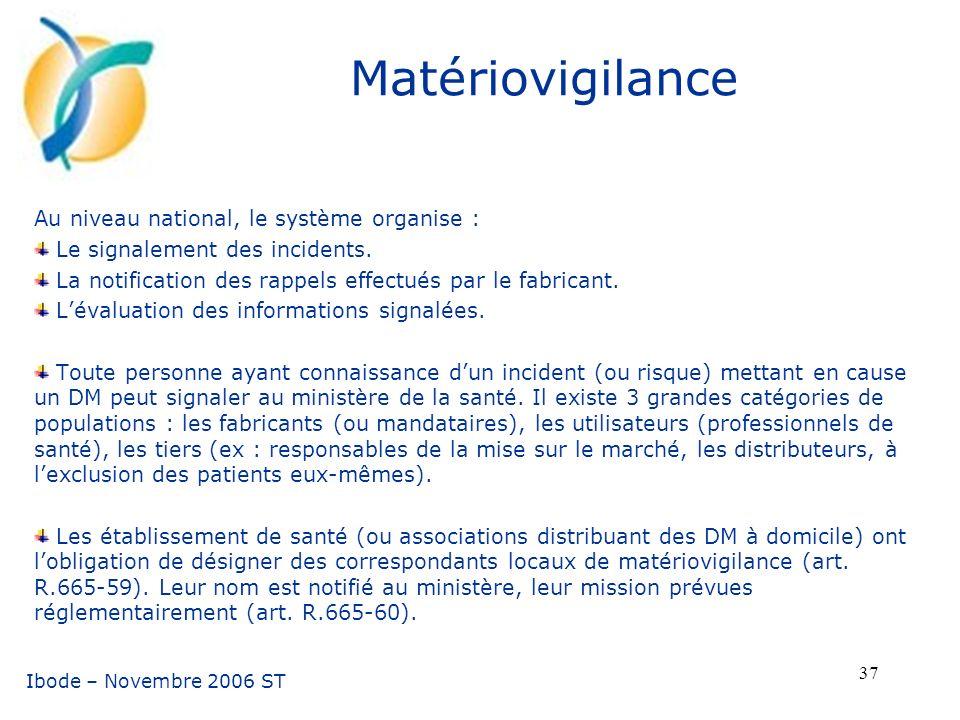 Matériovigilance Au niveau national, le système organise :