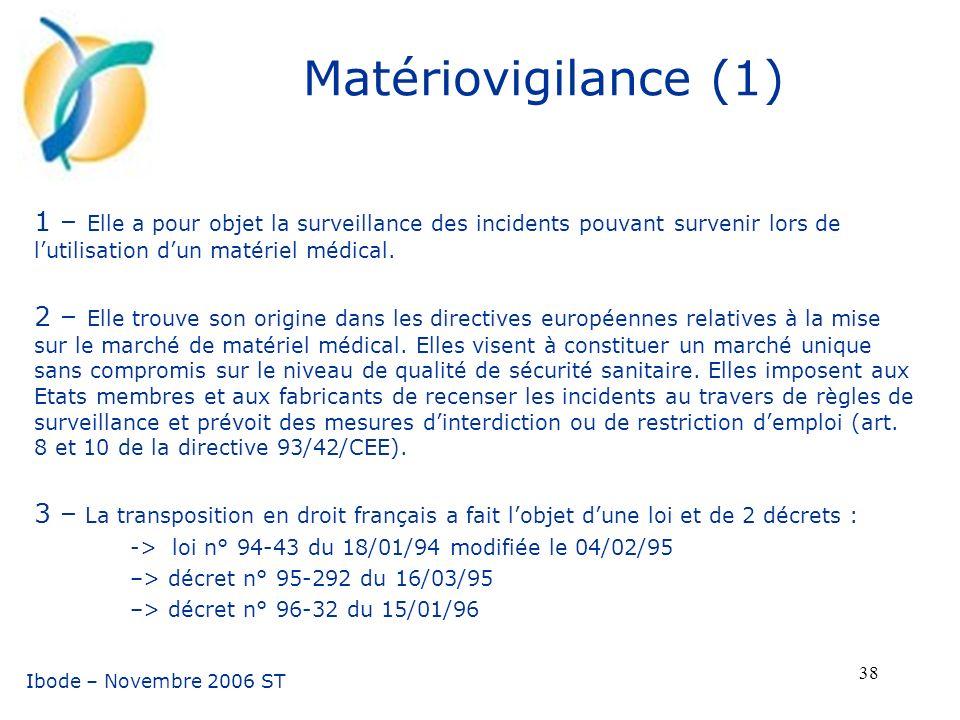 Matériovigilance (1) 1 – Elle a pour objet la surveillance des incidents pouvant survenir lors de l'utilisation d'un matériel médical.