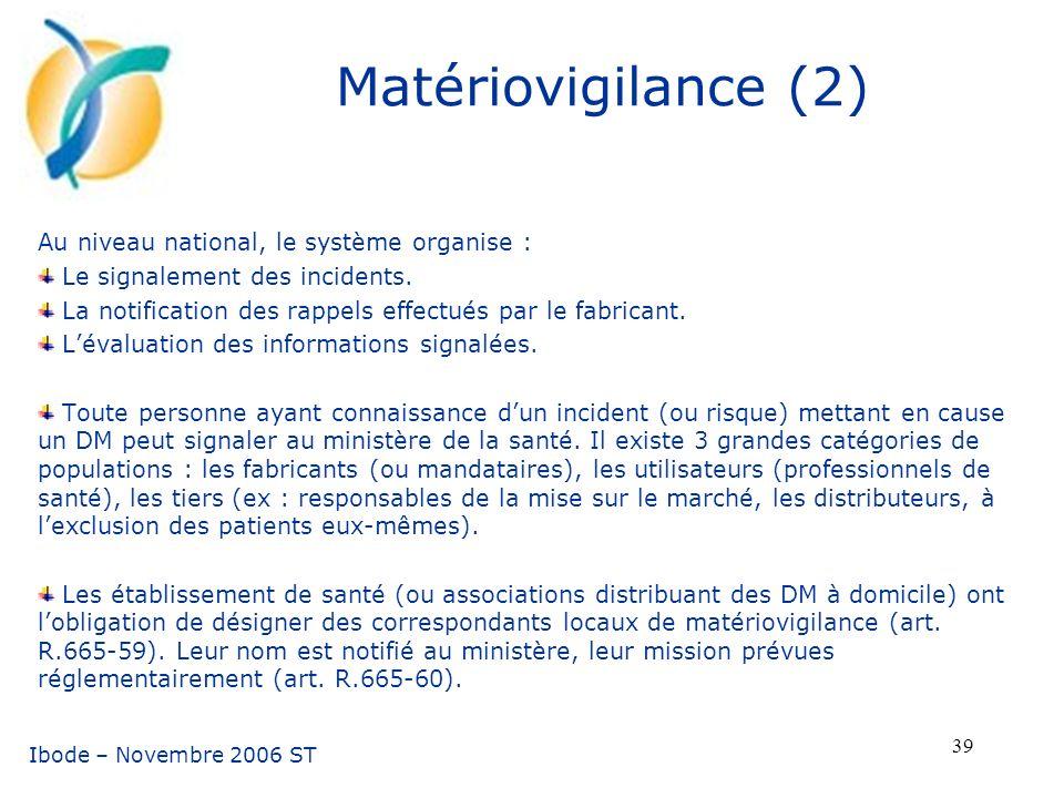Matériovigilance (2) Au niveau national, le système organise :