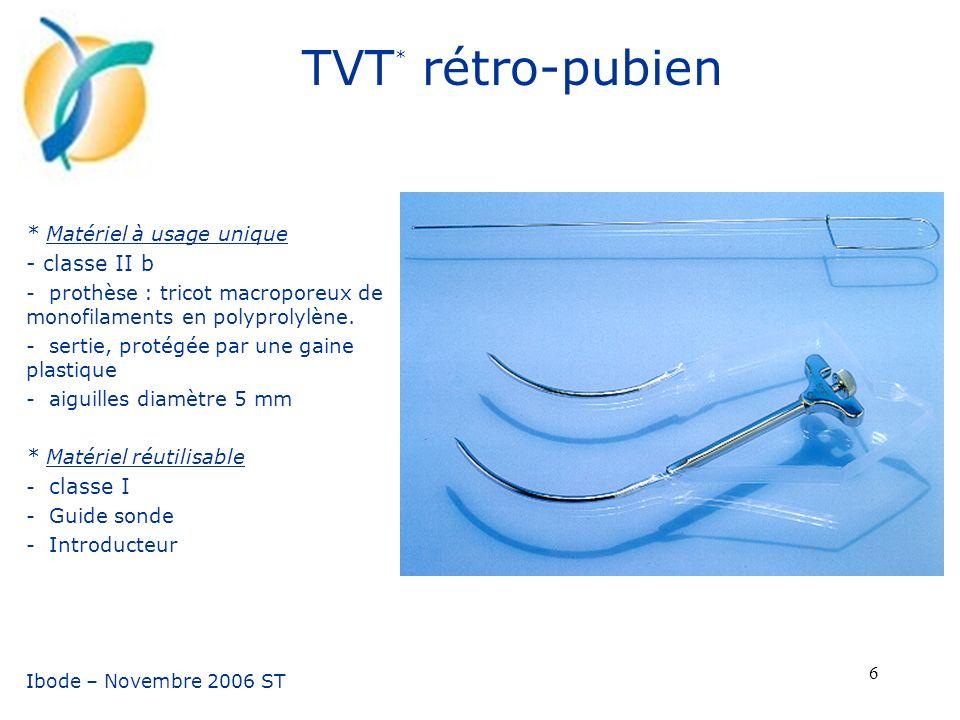 TVT* rétro-pubien - classe II b * Matériel à usage unique