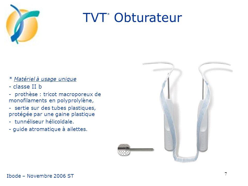TVT* Obturateur - classe II b * Matériel à usage unique