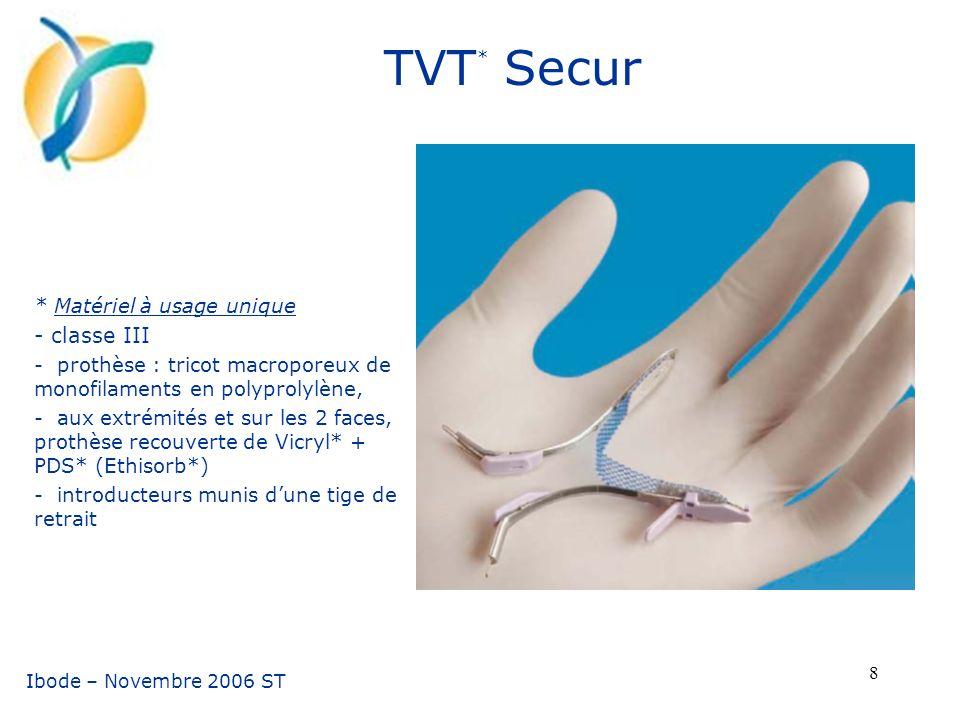 TVT* Secur - classe III * Matériel à usage unique