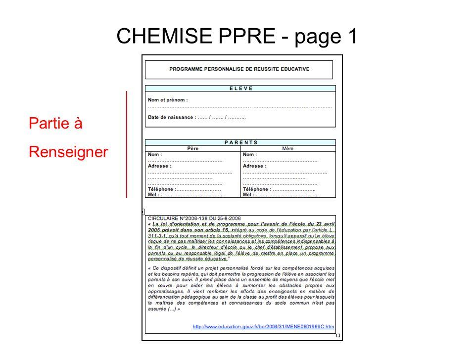 CHEMISE PPRE - page 1 Partie à Renseigner