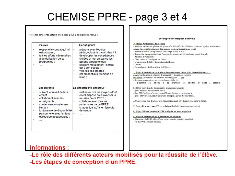 CHEMISE PPRE - page 3 et 4 Informations :