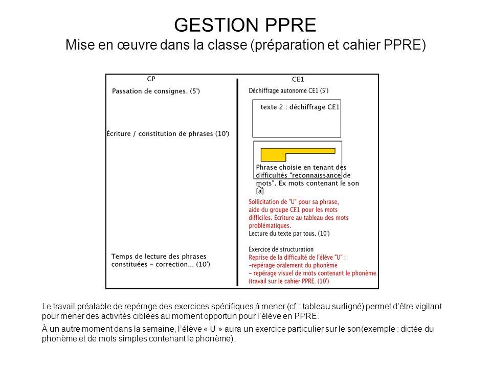 GESTION PPRE Mise en œuvre dans la classe (préparation et cahier PPRE)
