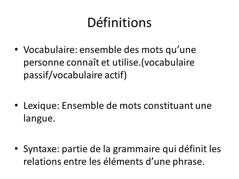 Définitions Vocabulaire: ensemble des mots qu'une personne connaît et utilise.(vocabulaire passif/vocabulaire actif)